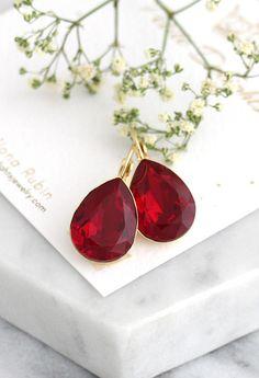 Red Earrings Red Burgundy Earrings Red Drop Earrings Red Red Jewelry, Stylish Jewelry, Cute Jewelry, Jewellery, Crystal Jewelry, Last Minute Christmas Gifts, Christmas Gifts For Her, Mint Earrings, Red Bridesmaids