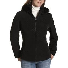 Jones New York Women's Quilted Jacket with Hood, Black, Medium (Apparel)