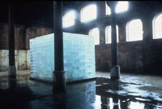 Intensities and Surfaces, 1996  rock salt, ice  118 x 157 1/2 x 157 1/2 inches, 34 tons  installation view Wapping Pumping Station, London (Women's Playhouse Trust)
