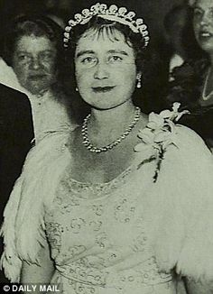 The Queen Mother wearing her tiara, the Halo, that Catherine, the Duchess of Cambridge wore at her Wedding to Prince William. Borrowed from Queen Elizabeth II