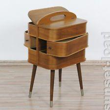 altes Näh Kästchen Teak Holz Swing Box Kasten 50er 60er Jahre alt & vintage