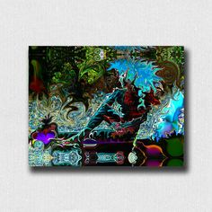 """Yoga Art Print ~ Ardha Matsyendrasana Half Lord Of The Fishes Psychedelic Blue Colored Art Print 11""""x 8.5"""" Signed on Back by Deprise Brescia by DepriseDesigns on Etsy"""