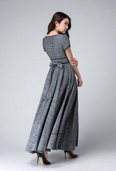Gris vestido maxi imperio cintura vestido de vestido de