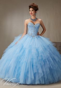 Quinceanera Dress  Vizcaya Morilee 89066  Embroidery and Beading on a Ruffled tulle skirt Colors: Bahama blue
