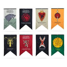 All it takes are these Game of Thrones Banners. Having a Game of Thrones House banner for your own house makes it feel like you Game Of Thrones Flags, Game Of Thrones Decor, Game Of Thrones Sigils, Game Of Thrones Cake, Game Of Thrones Poster, Game Of Thrones Gifts, Game Of Thrones Houses, Hbo Game Of Thrones, Casas Game Of Thrones