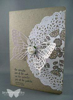addINKtive designs: Doily Cards with SU Butterflies thinlets Pretty Cards, Cute Cards, Diy Cards, Paper Doilies, Doilies Crafts, Fabric Crafts, Butterfly Cards, Sympathy Cards, Card Tags
