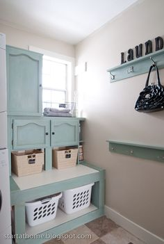 Amazing laundry room makeover in Duck Egg!