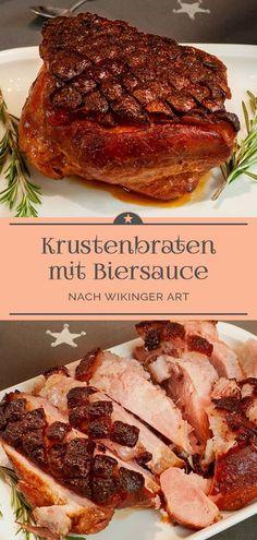 """Ein Schweinekrustenbraten """"Wikinger Art"""" mit einer leckeren Biersauce #bayerisch #schinkenbraten #dunkelbier #thymian"""