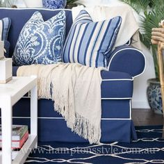 The ever popular Aztec and Southampton Cushions are beautifully displayed here on the East Hampton Sofa