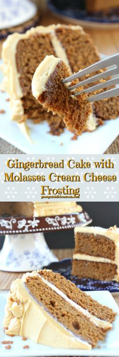 Gingerbread Cake with Molasses Cream Cheese Frosting. Mmm, I love gingerbread, and carrot cake spices, and cream cheese frosting.ds like a winner to me! Mini Desserts, Brownie Desserts, Christmas Desserts, Just Desserts, Delicious Desserts, Christmas Cakes, Homemade Desserts, Brownie Recipes, Christmas Recipes