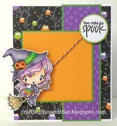 Interactive Card  Witch is on flat beads strung on twine so she can fly up and down!  Splendid Stamping with The Greeting Farm: Tutorial Thursday -- An Interactive Card!