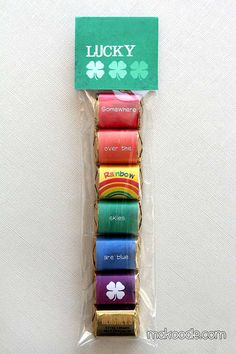 St. Patrick's Day Rainbow Hershey Nugget Wrappers and Bag Topper Free Printables