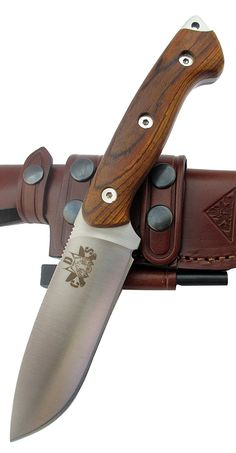 CDS-Survival Outdoor  Survival  Hunting Knife - Polished Micarta Handle, Stainless Steel Mova-58 with Genuine Leather Sheath - Made in Spain