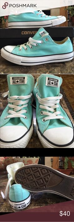 Light blue converse Worn a few times. Has a few spots shown in pictures. Converse Shoes Sneakers