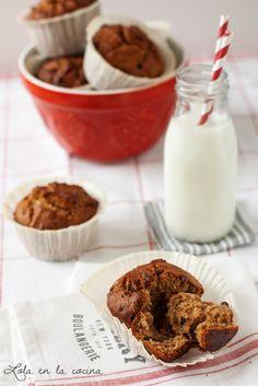 Muffins de mantequilla de cacahuete y pepitas de chocolate