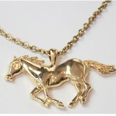 Gold plated running horse pendant necklace