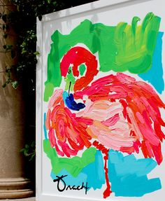 "Original 30"" x 40"" Acrylic on Canvas ""Ocean Drive Pink Flamingo"" — Kelly Tracht"