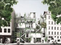 Image 1 of 12 from gallery of WE architecture + Erik Juul& Urban Garden and Housing to Provide Turning Point for Copenhagen& Homeless. Photograph by WE Architecture Architecture Durable, Urban Architecture, Garden Architecture, Sustainable Architecture, Social Housing Architecture, Landscape Plans, Urban Landscape, Landscape Design, Garden Design