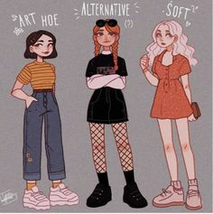 Which one is your favorite? I tried to draw my gals Sunny, Paris and Lena with different clothing aesthetics/styles ; Drawing Anime Clothes, Anime Girl Drawings, Cute Art Styles, Cartoon Art Styles, Art Drawings Sketches Simple, Cute Drawings, Anime Outfits, Mode Outfits, Clothing Sketches