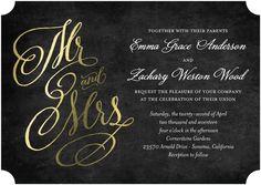 Spectacular Swirls - Signature Foil Wedding Invitations in Black or Baltic   Jenny Romanski