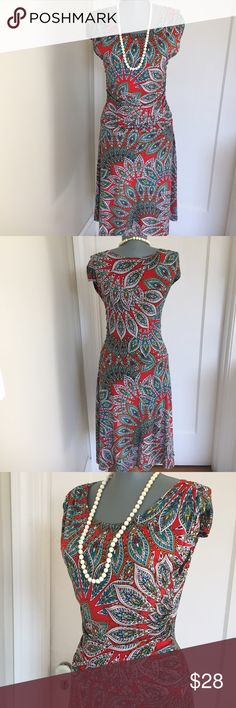 "Enfocus Fall Dress. Gorgeous. Enfocus Fall Dress. So Pretty.  Beautiful. Partially lined. Fabric has stretch to give a great fit. Bust 32"". Waist 26"". Shoulder to hem 39"". Very good condition. Gorgeous. Enfocus Dresses"