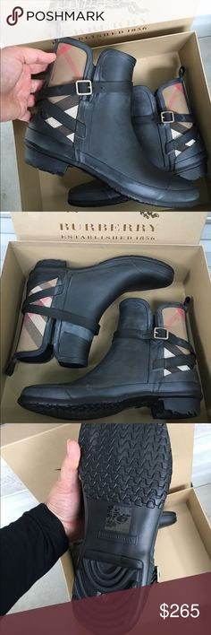 BURBERRY Check Rain Boots Black NWB Brand new in box from Neiman Marcus. Size 41. Will fit a 10, 10.5 & 11. Burberry Shoes Winter & Rain Boots