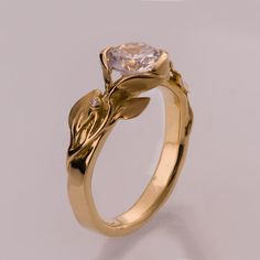 Leaves Engagement Ring No. 10  14K Gold and Diamond by doronmerav