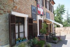 Wine bar in Neive in the Langhe area, Piedmont, Italy