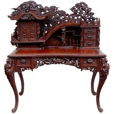 View this item and discover similar for sale at - Century carved laquered Chinese desk circa 1920 Asian Furniture, Chinese Furniture, Oriental Furniture, Victorian Furniture, Classic Furniture, Unique Furniture, Vintage Furniture, Furniture Decor, Furniture Design