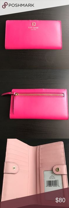 Kate Spade Stacy Wallet Kate Spade Stacy Wallet in Charlotte Terrace Color. Need to get rid of ASAP!! Brand new, has never been used. Vibrant pink Wallet with baby pink lining. 12 card slots, and an ID slot. 4 inner pockets for cash or receipts. A coin zipper pocket in the back. Couldn't decide between two colors at the time but this is so pretty! All offers considered 😊 kate spade Bags Wallets