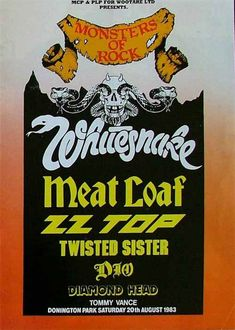 Whitesnake vintage poster Monsters Of Rock Castle Donington UK 1983 by PetesRetroPosters on Etsy