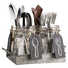 Good idea for all the kitchen stuff. I wouldn't put spoons and forks in the jars but hey, … to each his own.