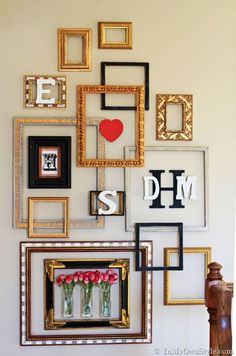 Here is a cute picture frame gallery idea with a Valentine's surprise from In My Own Style. This gallery looks. Empty Picture Frames, Empty Frames, Gallery Wall Frames, Frames On Wall, Gallery Walls, White Frames, Wall Collage, Art Gallery, Diy Wanddekorationen
