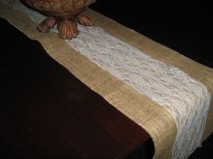 Burlap-Table-Runner-w-Lace-12-wide-Weddings-Special-Events-Many-size-variations