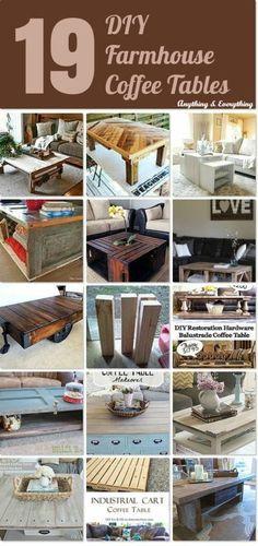 19 DIY Farmhouse Coffee Tables - Anything & Everything #Hometalk #Hometalkeveryday #DIY #Coffeetables