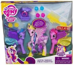 My Little Pony Crystal Princess Ponies Collection by Hasbro. $30.27. Add to your child's My Little Pony collection or introduce her to these sweet ponies with a set from the Crystal Princess collection. The set's 3 ponies, in pink and purple hues, come complete with plenty of dress-up accessories. Mix and match the accessories and clothing, including tiaras, barrettes and skirts, to give each pony a unique look.