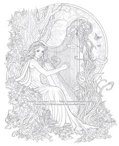 Beautiful harp player coloring pafe