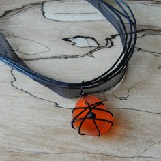 Wire wrapped Halloween glass necklace