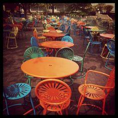 Colorful patios.