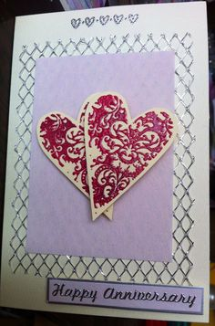 Happy Anniversary card making inspiration. Hand made. Hearts. Rubber Stamping.