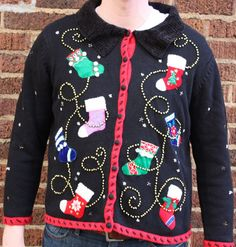 Ugly Christmas Sweater - Fancy Stockings.via Etsy.
