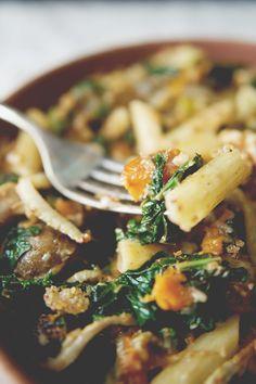 Roasted Vegetable Pasta w/ Sauteed Kale + Walnut Pesto