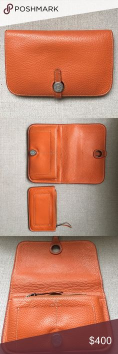 Hermes wallet Pre owned in fair condition. Classic Hermes orange, beautiful subtle leather. Hermes Bags Wallets