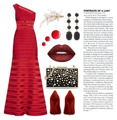 """Oscars"" by trendsetter12 ❤ liked on Polyvore featuring Hervé Léger, Lime Crime, Topshop, Melissa Joy Manning and Karl Lagerfeld"