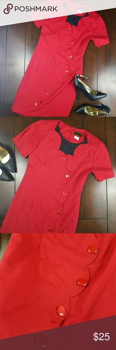 Vintage/Retro Shortsleeve Dress Available pre-loved in size 9/10. He just short sleeves, zipper access in the back, large accent buttons, and small split in back from movement. 65% polyester 35% rayon. Machine washable. Red / Black Vintage Blue Dresses