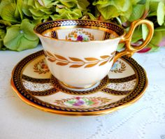 Paragon Porcelain Cup & Saucer For Her Majestry Queen Mary ~ Cobalt ~ Gold #Paragon
