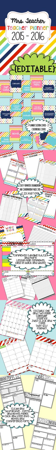This Editable and CUSTOMIZABLE Teacher planner is AWESOME!!!