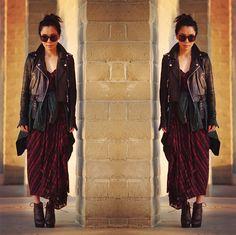 Fall Layers: Plaid Dress + Leather Jacket + Tie Waist Shirt