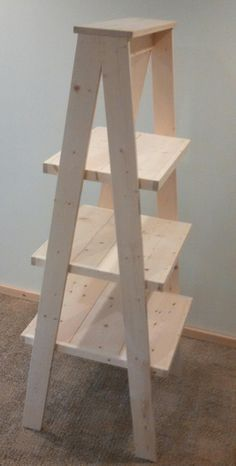 rustic wood ladder style display retail store product