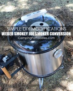 Simple DIY Modifications For A Weber Smokey Joe Smoker Conversion. How we converted our Weber Smokey Joe into a smoker in 4simple steps for camping trips.